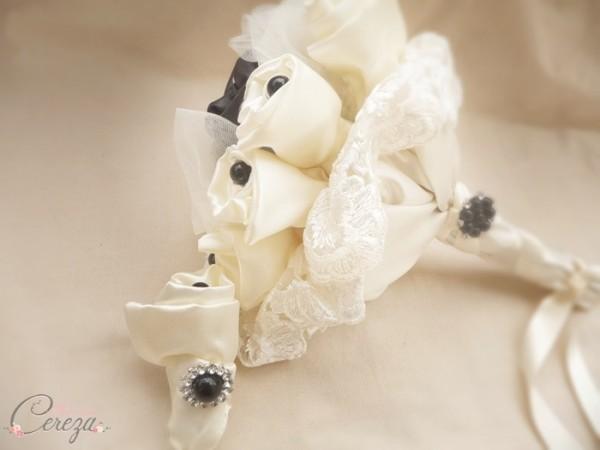 mariage rock n roll creation sur mesure bouquet bijou ivoire noir cereza