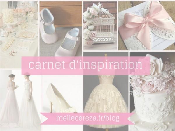 planche inspiration mariage ivoire rose dentelle Mademoiselle Cereza blog mariage