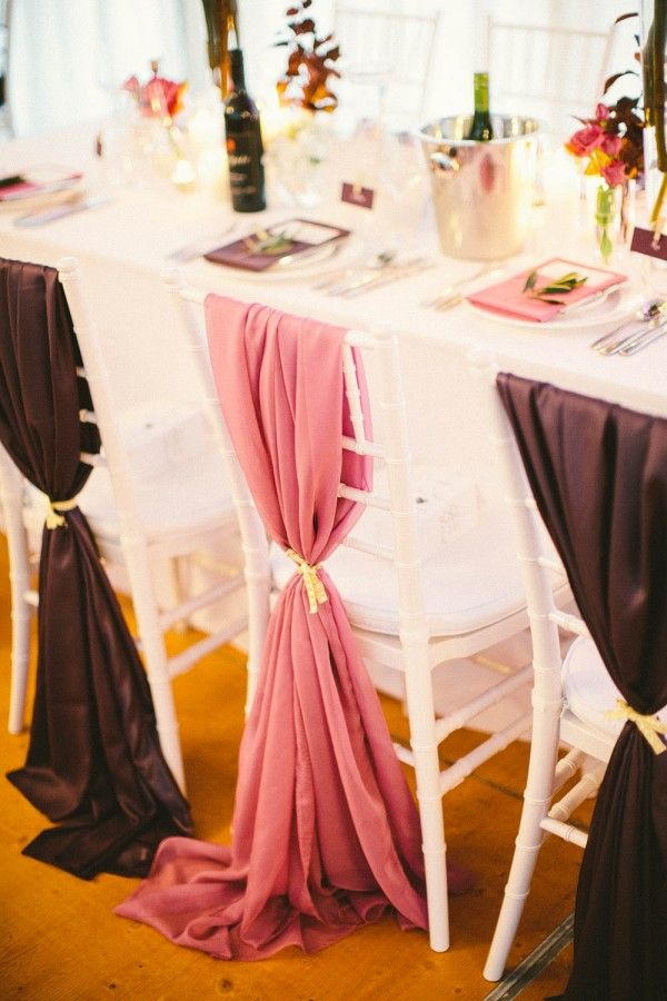 idees mariage rose violet blanc decoration chaise drape Mademoiselle Cereza blog mariage