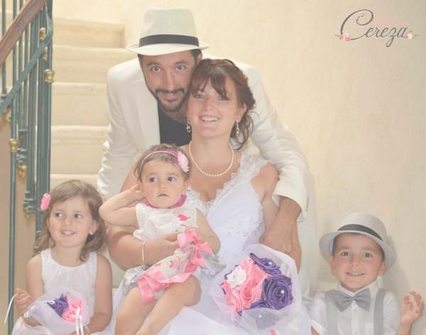 """Jennifer : bouquet de mariée """"Clémence"""" personnalisé en rose, violet & blanc"""