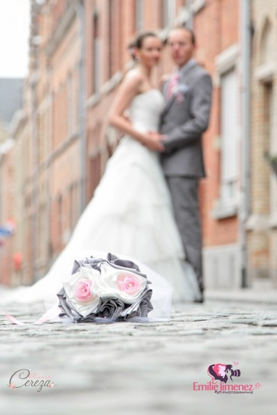 bouquet mariage original tissu ivoire rose gris argent Anne Sophie 16