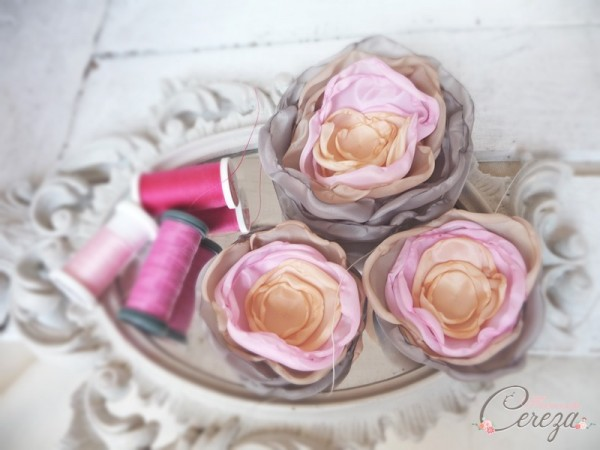fleurs shabby chic gris rose beige abricot cereza mademoiselle