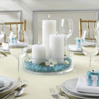 idée centre table mariage turquoise blanc bougies