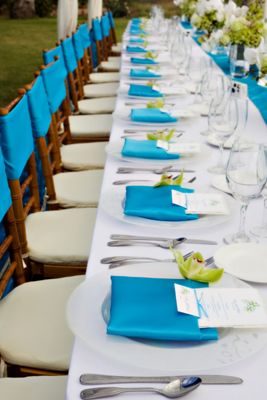 idée déco table mariage turquoise blanc pointe anis