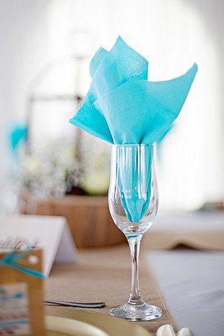 idée pliage serviette table mariage turquoise