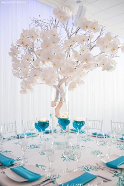 idées mariage turquoise blanc déco table centre table floral bougies