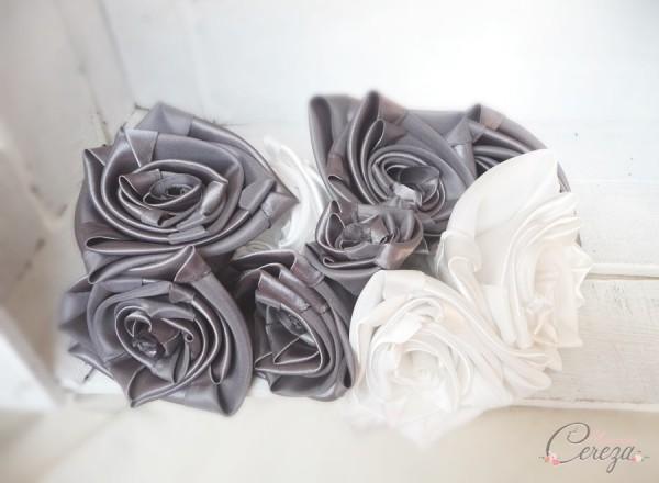 mariage gris anthracite ivoire fleurs bouquet mariee original tissu satin cereza mademoiselle