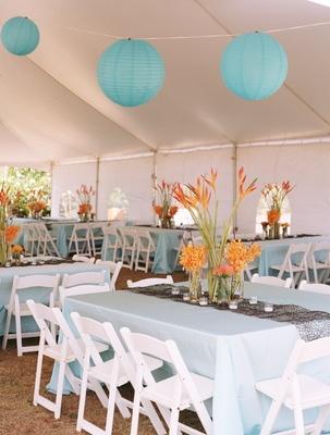 idées mariage turquoise blanc sous chapiteau tente idée déco lampion lanterne turquoise blanc