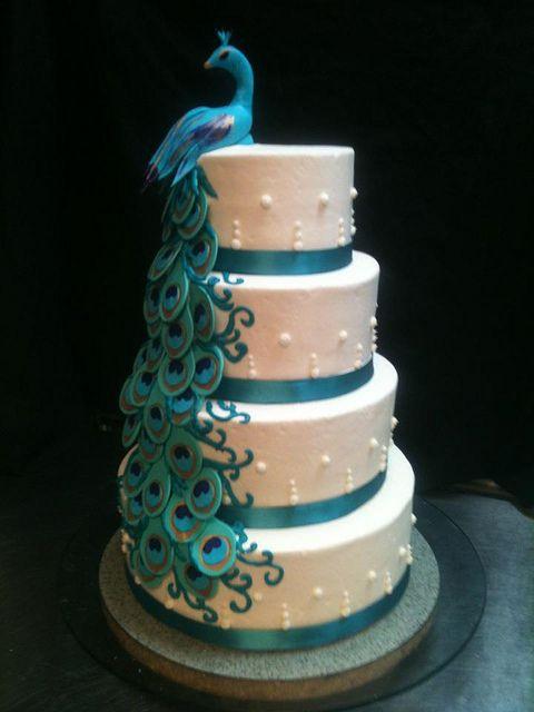 wedding cake mariage turquoise paon exception