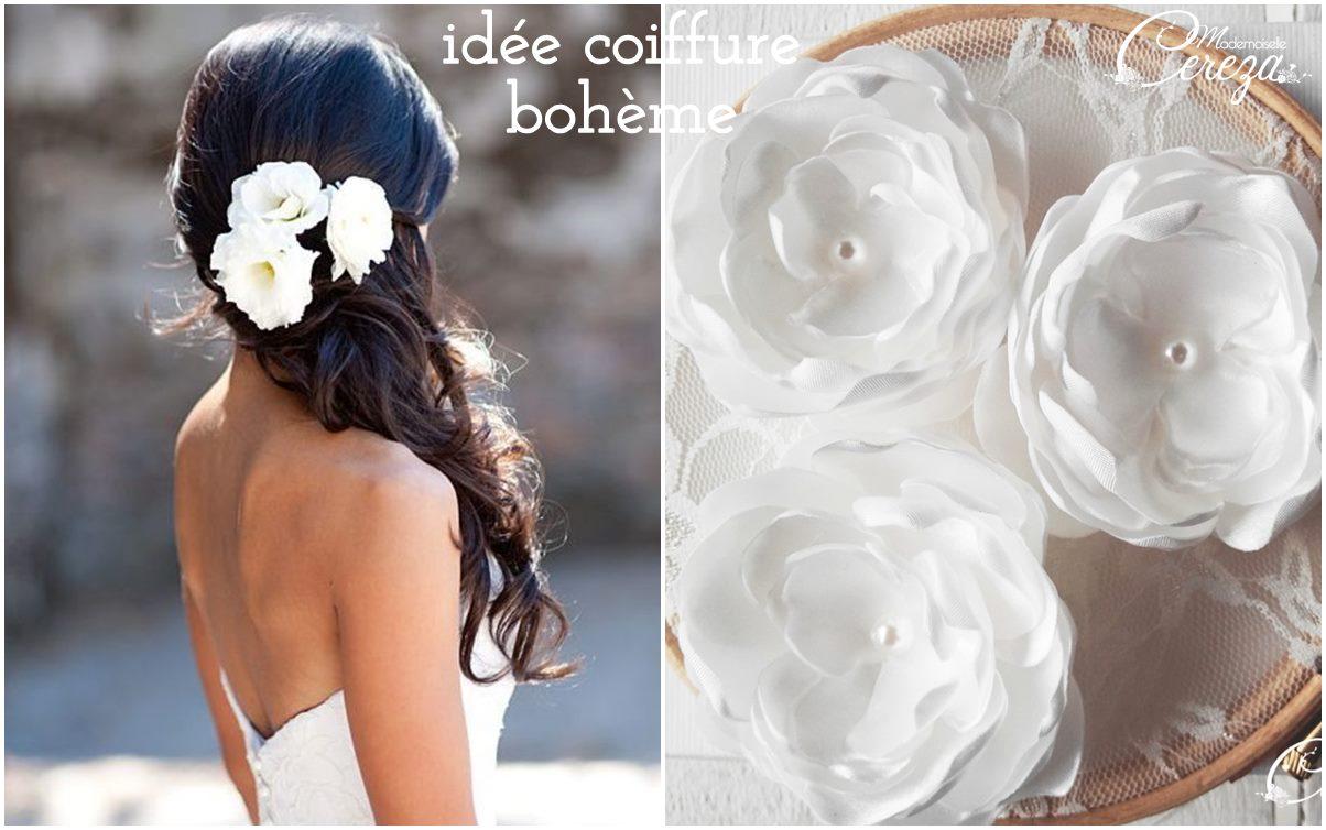 idées de coiffure mariée bohème cheveux longs + fleur