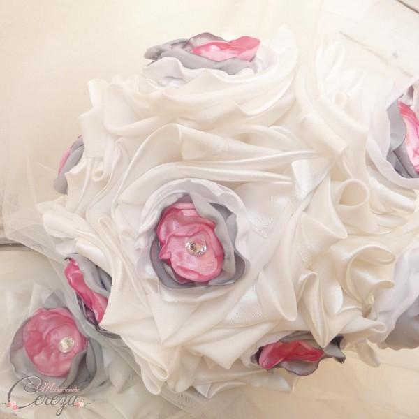 bouquet mariage original tissu strass ivoire blanc rose gris cereza mademoiselle