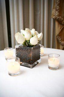 centre de table mariage élégant tulipe ivoire chocolat