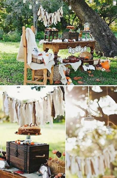 idée déco mariage ivoire chocolat original guirlande mariage automne candy bar champetre