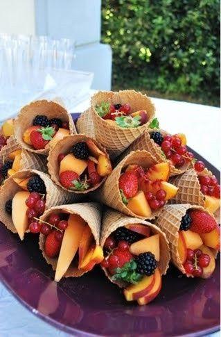 idées originales de dessert de mariage healthy cornets de fruits