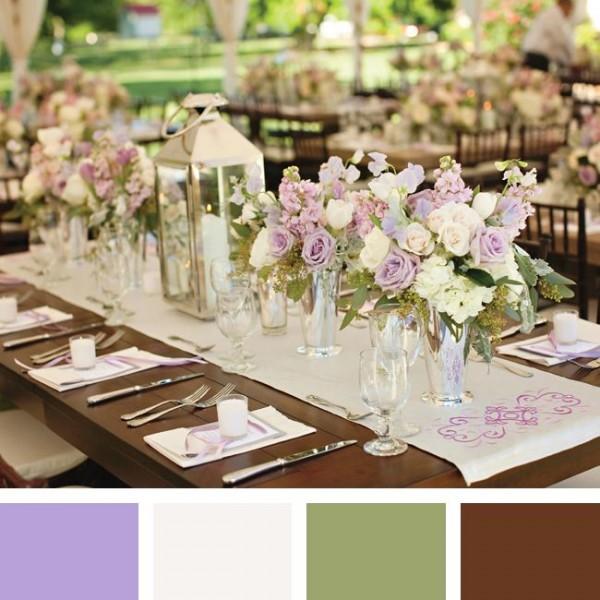 idées mariage ivoire chocolat déco table salle  élégant notes parme mauve vert