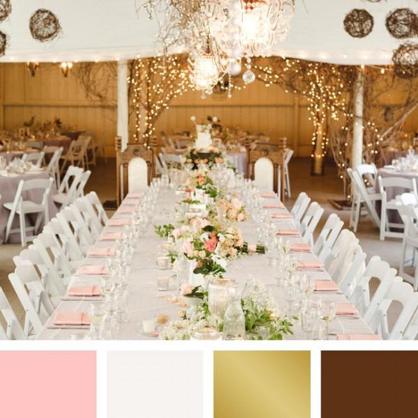 idées mariage ivoire chocolat déco table salle rose or élégant