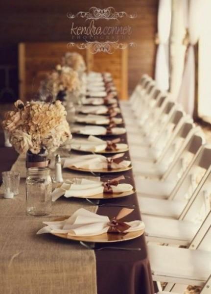 mariage automne ivoire chocolat idée déco table