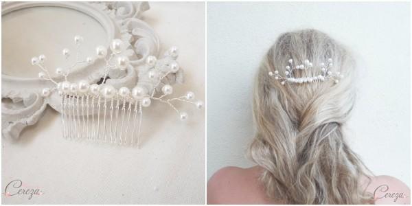 accessoires personnalisés mariage bijou de coiffure mariée peigne perles cereza