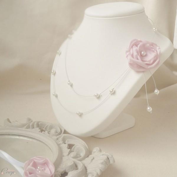 mariage rose poudre bijou mariage collier mariee floral rose poudre perle cereza 3