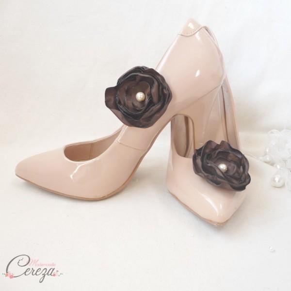 mariage chocolat bijoux chaussures shoe clips customiser escarpins nude cereza mademoiselle