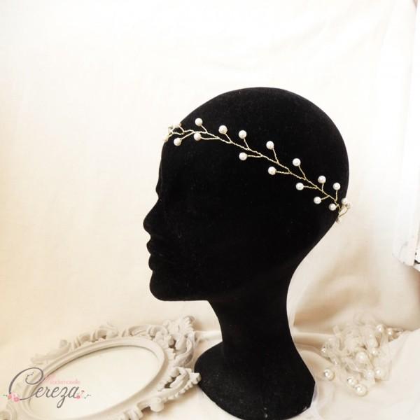 mariage doré couronne perles mariee bijou de tete coiffure chic boheme cereza mademoiselle 7
