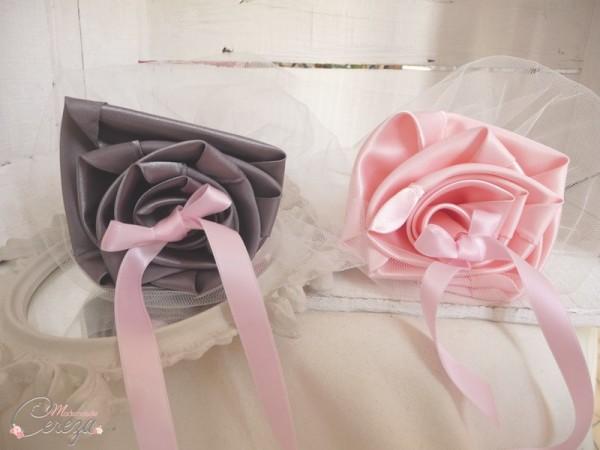 accessoires personnalisés mariage rose gris porte alliance duo fleur anthracite cereza mademoiselle