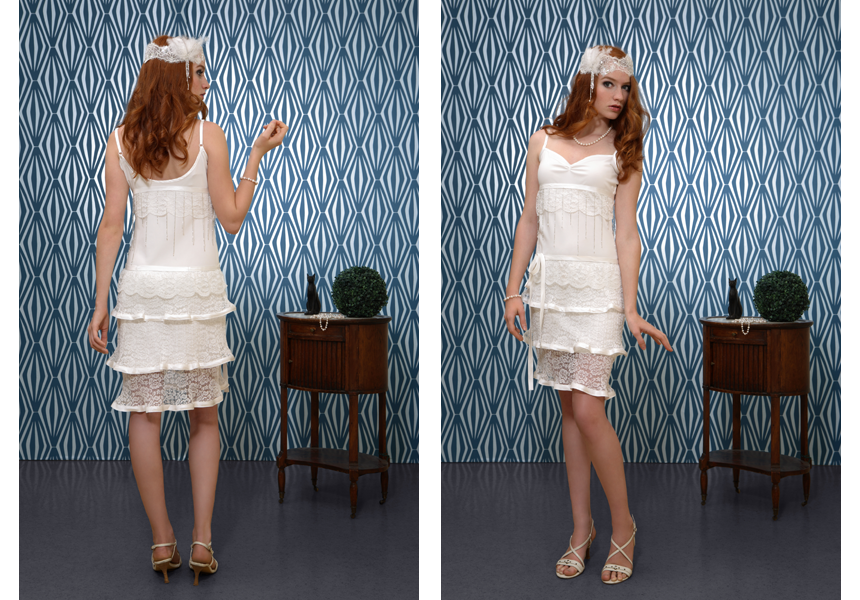 robe de mariée Lyon créatrice courte dentelle Caroline Quesnel