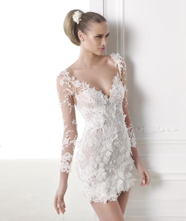 robe de mariée courte dentelle bustier sélection stylée CAPRICORNIO_B pronovias r