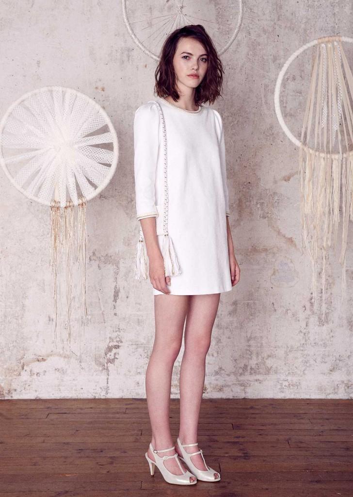 robe de mariée courte graphique droite sessun-oui modele grace
