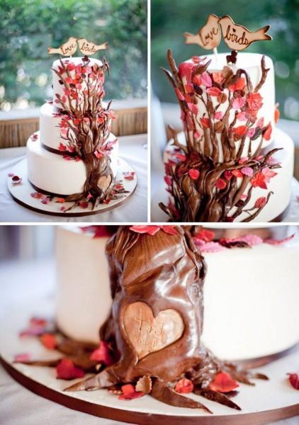 wedding cake thème oiseaux idée originale mariage