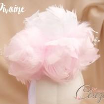 bouquet de mariée plumes pivoine en plumes bouquet de mariée original bijou cereza mademoiselle 2