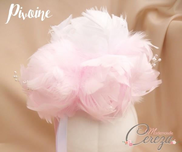 bouquet de mariée pivoine en plumes bouquet de mariée original bijou cereza mademoiselle 2