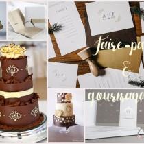 idées wedding cake & faire-part mariage élégant ivoire chocolat cereza blog mariage b
