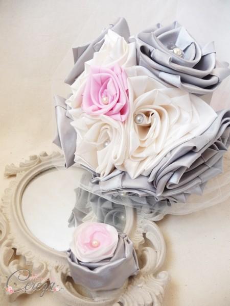 mariage gris ivoire rose bouquet de mariée original cereza mademoiselle 3