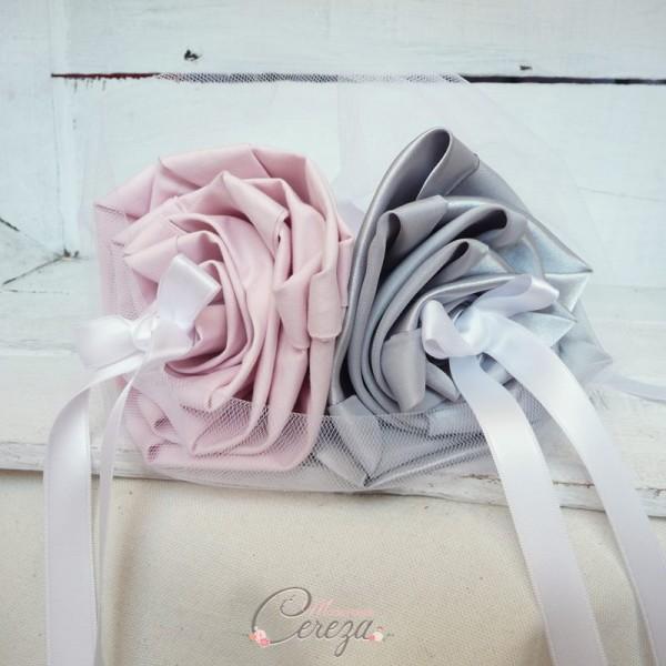 mariage rose poudré gris blanc porte alliances personnalisé cereza mademoiselle