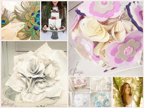 bouquet de mariee original papier plumes boutons sur-mesure cereza mademoiselle
