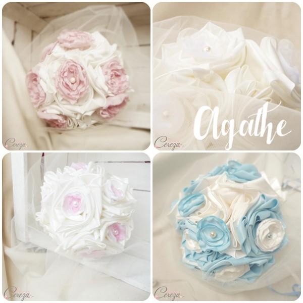 bouquet de mariée original pastel ivoire rose poudre bleu ciel blanc rose cereza mademoiselle