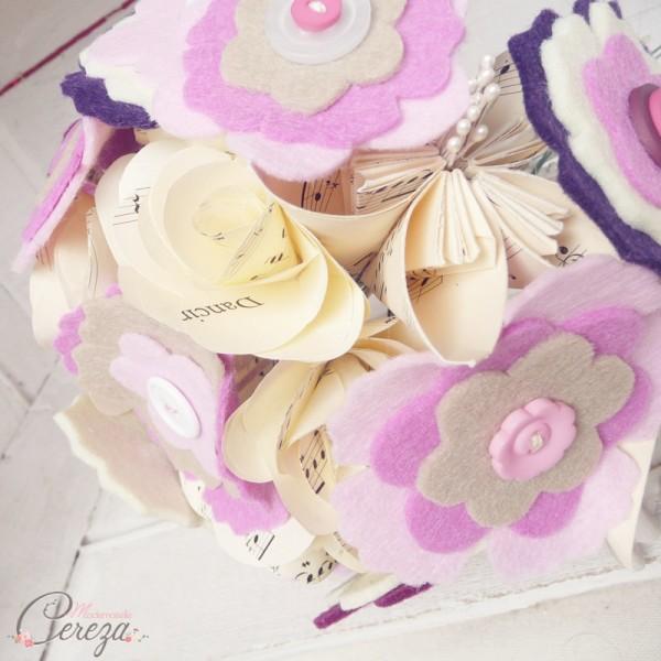 bouquet de mariee original papier boutons rose beige violet cereza mademoiselle