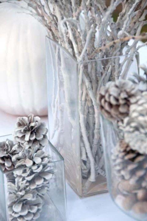 se marier en hiver deco mariage nature centre de table pommes de pin branches