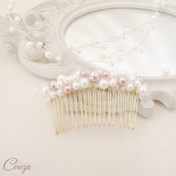 bijou de coiffure mariée peigne perles chignon cereza mademoiselle