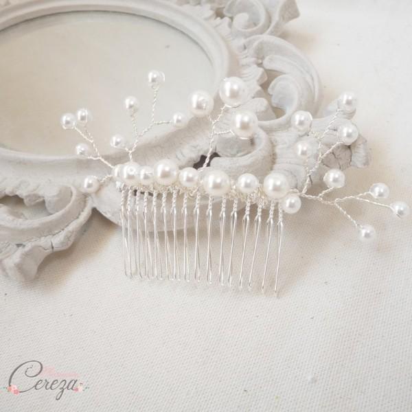 idee accessoire chignon mariee peigne perles Mademoiselle Cereza modèle Madeline