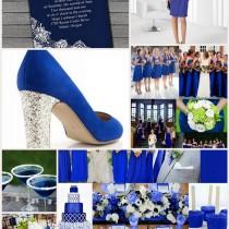 mariage bleu roi blanc