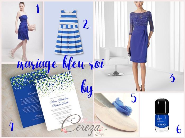 mariage bleu roi blanc idées tenues accessoires