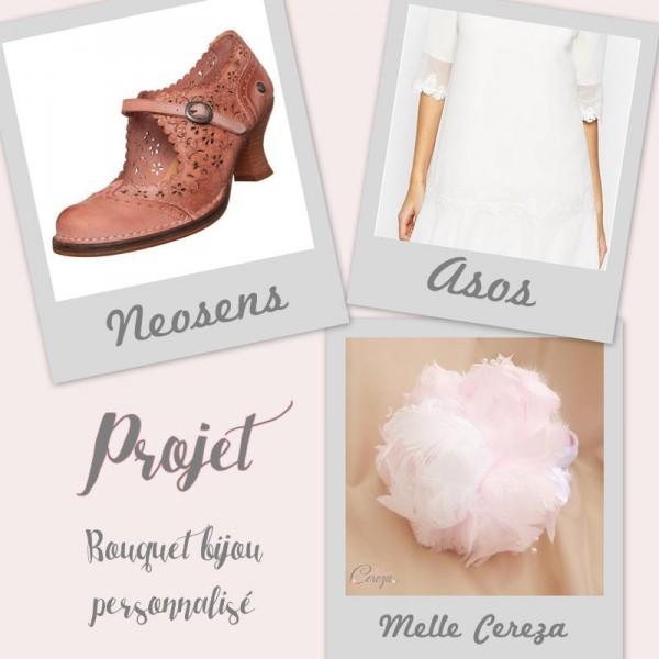 mariage à thème vieux rose ivoire plumes idée robe chaussure