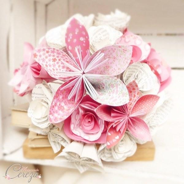 bouquet de mariage atypique original en papier mariee decale rose rouge cereza mademoiselle