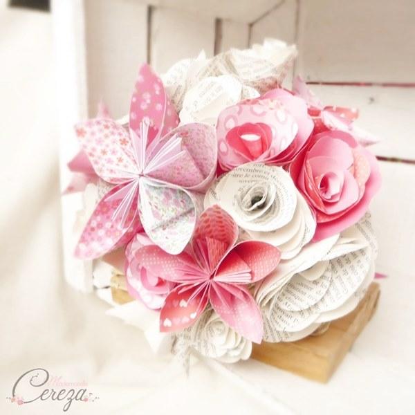 bouquet de mariage atypique original en papier cereza mademoiselle creation française