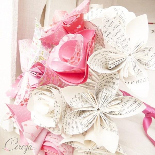 bouquet de mariage atypique original en papier personnalisable decale fun jeune frais cereza mademoiselle