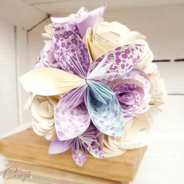 bouquet mariee origami mauve bleu personnalisable Melle Cereza
