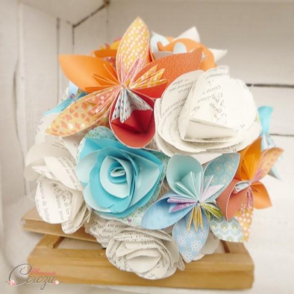 bouquet mariee origami orange bleu turquoise personnalisable Melle Cereza