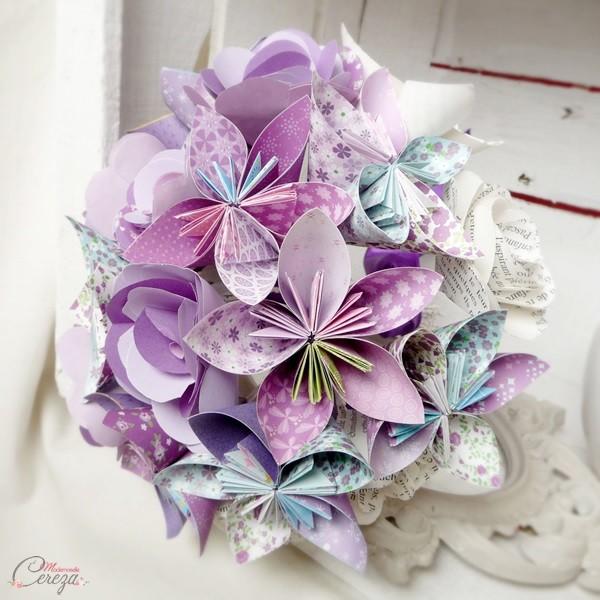 bouquet mariee mauve parme violet origami personnalise Melle Cereza